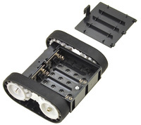 Pololu Zumo chassis kit, assembled bottom view with battery holder cover removed.