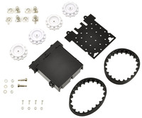 Pololu Zumo chassis kit components.