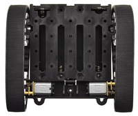 Pololu Zumo chassis, assembled top view without acrylic plate, shown with motors.