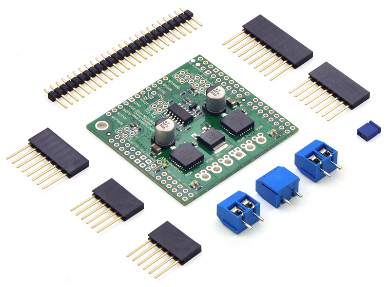 Pololu dual MC33926 motor driver shield for Arduino with included hardware.