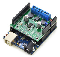 Pololu dual MC33926 motor driver shield, assembled and connected to an Arduino Uno R3.