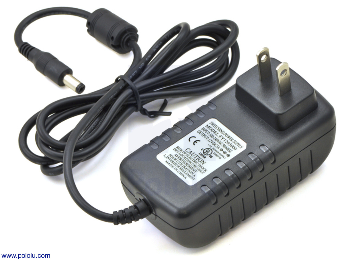 Pololu - Wall Power Adapter: 12VDC, 3A, 5 5×2 1mm Barrel Jack