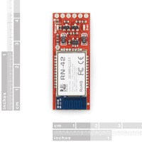 BlueSMiRF Silver (firmware version 4.77), top view with rulers.