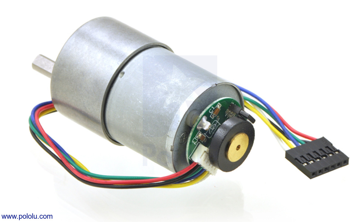 Pololu 50 1 metal gearmotor 37dx54l mm with 64 cpr for Arduino encoder motor control
