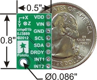 LSM303DLHC 3D compass and accelerometer carrier with voltage regulators, bottom view with dimensions.