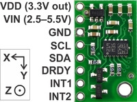 LSM303DLHC 3D compass and accelerometer carrier with voltage regulators, labeled top view.