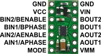 DRV8835 dual motor driver carrier, labeled top view.