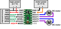 Minimal wiring diagram for connecting a microcontroller to a DRV8835 dual motor driver carrier in phase-enable mode.