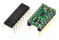 TI SN754410 (16-pin DIP) next to the DRV8835 dual motor driver carrier (14-pin DIP) for size reference.