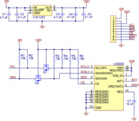 Schematic of the L3GD20 3-axis gyro carrier with voltage regulator.