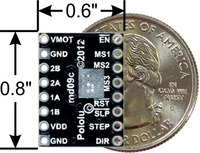 A4988 stepper motor driver carrier, Black Edition, bottom view with dimensions.