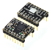 Pololu A4988 stepper motor driver carrier, Black Editions, with included header pins soldered.