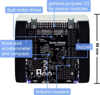 Zumo Shield for Arduino, labeled top view.