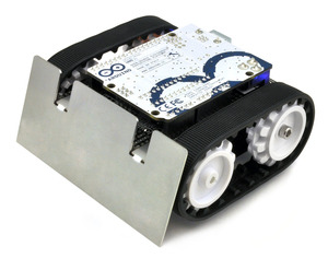 Assembled Zumo robot with a Zumo Shield, Arduino Uno, and Zumo blade.
