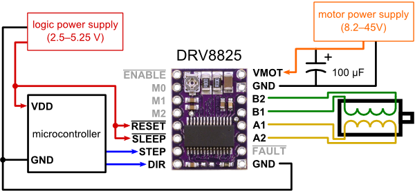 minimal wiring diagram for connecting a microcontroller to a drv8825  stepper motor driver carrier (full-step mode)