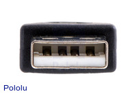USB A male connector on the USB adapter A to mini-B.