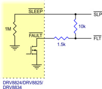 Schematic of nSLEEP and nFAULT pins on DRV8824/DRV8825/DRV8834 carriers.