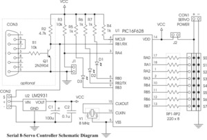 serial 8-servo controller user's guide.  388k pdf) and the following schematic.  Note: This chip requires additional...