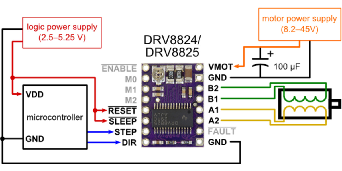 pololu - minimal wiring diagram for connecting a microcontroller to a  drv8824/drv8825 stepper motor driver carrier (full-step mode)