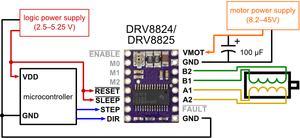 pololu drv8825 stepper motor driver carrier high current minimal wiring diagram for connecting a microcontroller to a drv8824 drv8825 stepper motor driver carrier full step mode