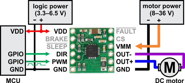 Pololu - DRV8801 Single Brushed DC Motor Driver Carrier