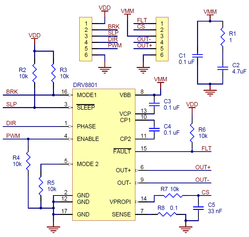 Pololu Schematic Diagram For The Drv8801 Single Brushed Dc Motor Also Control Circuit On Driver Carrier