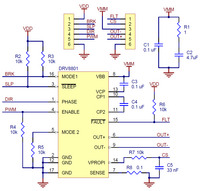 Schematic diagram for the DRV8801 single brushed DC motor driver carrier.