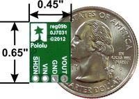 Pololu step-up/step-down voltage regulator S7V8A, S7V8F3, or S7V8F5, bottom view with dimensions.