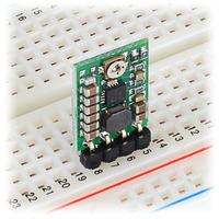 Pololu step-up/step-down voltage regulator S7V8A in a breadboard.
