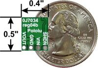 Pololu step-down voltage regulator D24VxFx, bottom view with dimensions.