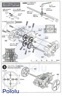 Instructions for Tamiya 70203 low-current gearbox page 3.