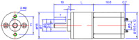 100:1 and 24:1 mini metal gearmotor dimensions (units in mm).