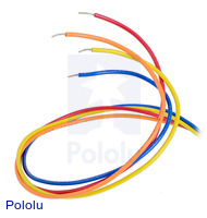 Bipolar stepper motor wires are terminated with bare leads.