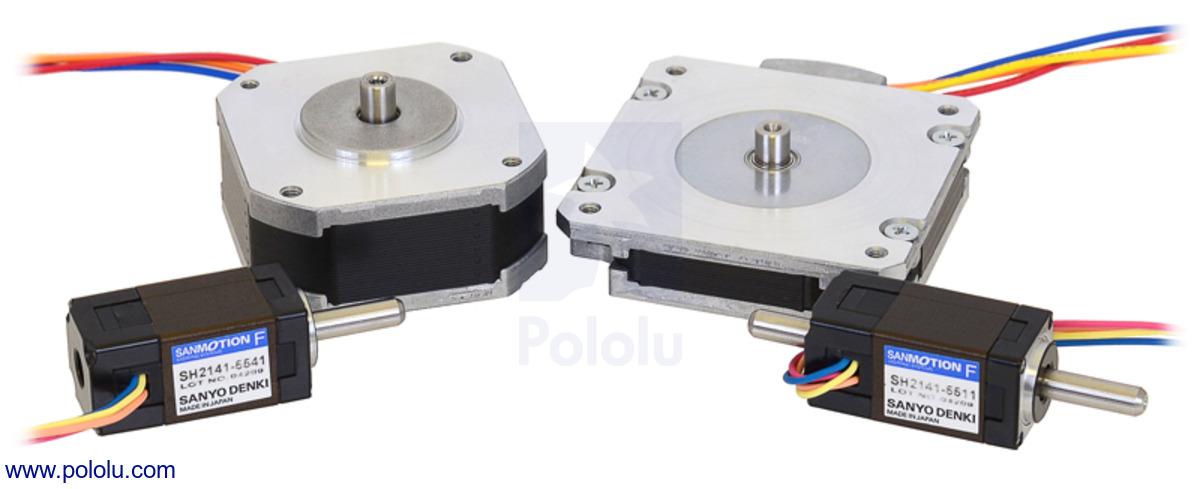 Pololu sanyo pancake stepper motor bipolar 200 steps for Double shaft stepper motor