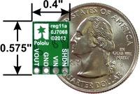 Pololu 5V, 9V, and 12V step-up/step-down voltage regulators S10V4F5, S10V3F9, and S10V2F12: bottom view with dimensions.