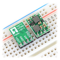 Pololu fixed-output step-up/step-down voltage regulators S10VxFx in a breadboard.