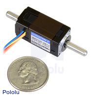Sanyo Miniature Stepper Motor: Bipolar, 200 Steps/Rev, 14×30mm, 6.3V, 0.3 A/Phase, Double Shaft