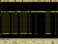 Oscilloscope capture of typical Pololu 38 kHz IR proximity sensor output close to its threshold of detection.