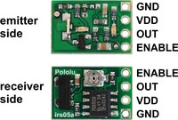 Pololu 38 kHz IR proximity sensor receiver and emitter sides with labeled pinout.