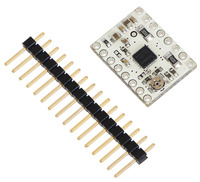 DRV8834 low-voltage stepper motor driver carrier with included header pins.