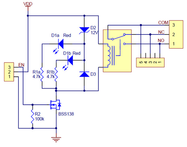 pololu basic spdt relay carrier with 5vdc relay partial kit rh pololu com dpdt relay circuit diagram dpdt relay circuit diagram