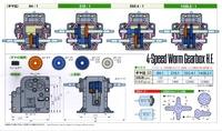 Tamiya 72008 4-Speed Worm Gearbox Kit box back.