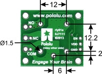 """Dimensions (in mm) of """"sugar cube"""" relay footprint on the Pololu basic SPDT relay carrier."""