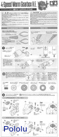 Instructions for Tamiya 72008 4-speed worm gearbox page 1.