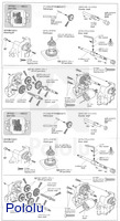 Instructions for Tamiya 72008 4-speed worm gearbox page 3.