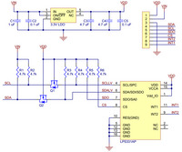 LPS331AP pressure/altitude sensor carrier with voltage regulator schematic diagram.