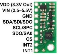 LPS331AP pressure/altitude sensor carrier with voltage regulator, labeled top view.