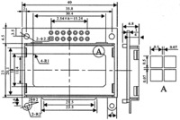 Dimensions (in mm) for the 8×2 character LCD.