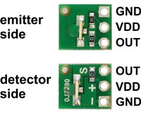 QTR-L-1A reflectance sensor emitter and detector sides with labeled pinout.
