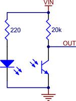QTR-L-1A reflectance sensor schematic diagram.